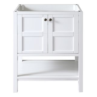 Virtu USA Winterfell 30 Inch White Single Sink Cabinet Only Bathroom Vanity