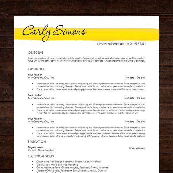 resume template cover letter the carly instant download word doc - Word Doc Resume Template