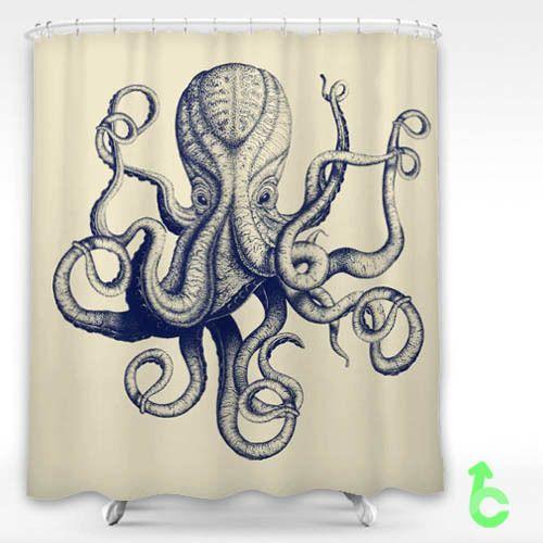 "New Vintage Octopus Custom Shower Curtain 60"" x 72"" #Unbranded #Modern #Best #Design #Cheap #Gift #Beautiful #Showercurtain #valentaingift"