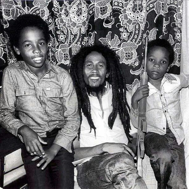 Ziggy and Stephen in Zimbabwe with their father, Bob Marley