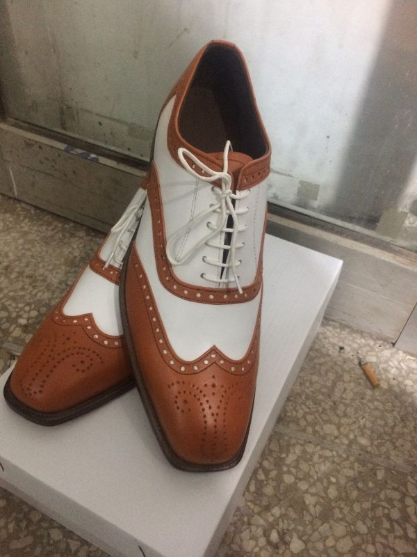 HANDMADE BROWN AND WHITE SHOES, MEN'S BROGUE LEATHER SHOES, MEN LEATHER SHOES - Dress/Formal