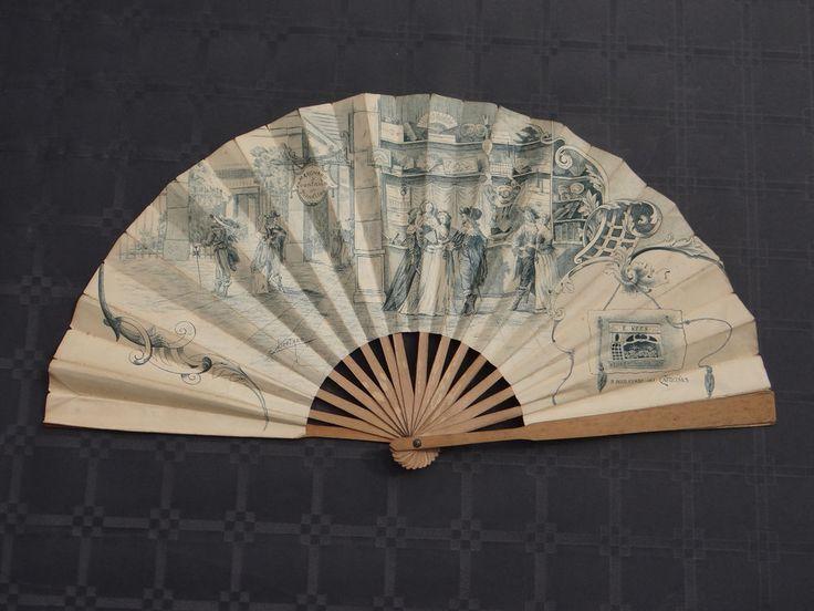 Rare éventail publicitaire maison Kees Lietaer / Antique fan ventaglio fächer