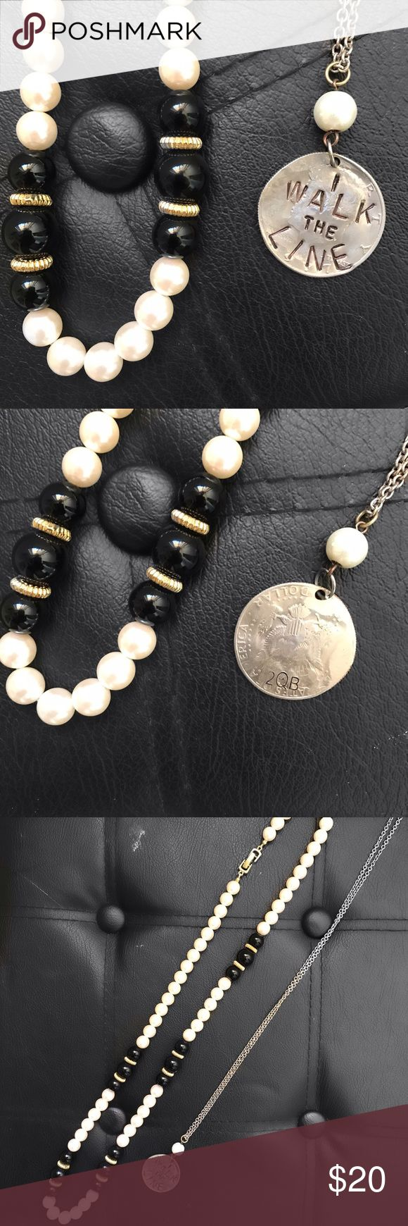 Two necklaces ❤️ A faux pearl necklace and a Johnny cash inspired coin necklace  the learn necklace lands just below the collar bone and the coin necklace lands a little lower than that ♥️ open to offers no trades. Jewelry Necklaces