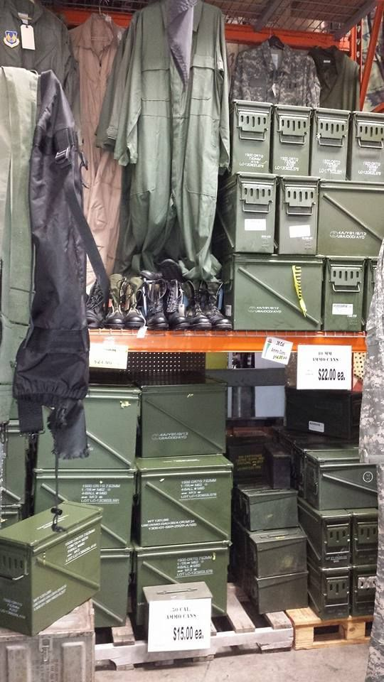 Ammo boxes for sale at Adams Ordnance Military Surplus Store in Louisville, Ky at 4008-A Champions Trace Ln off Bishops Ln and Newburg Rd. 8 different sizes of ammo cans available. www.AOSurplus.com