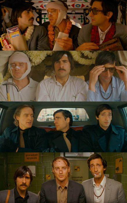 Heroes: Owen Wilson, Adrien Brody, and Jason Schwartzman as Francis, Peter, and Jack Whitman in The Darjeeling Limited