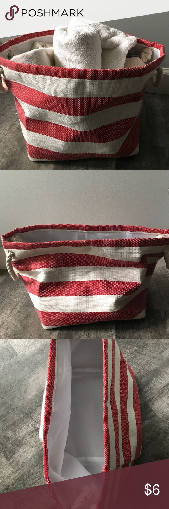 Utility Tote used for Beach or for Towel storage. Great color and coastal look to Bathroom or for the lake! Holds a lot of stuff and looks great as a honeymoon survival kit for shower present or can be used for baby shower gift to stow toiletries. Bags Totes