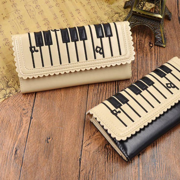 Womens Piano Keyboard Music Note Purse Clutch Bifold Wallet Coin Card Handbag