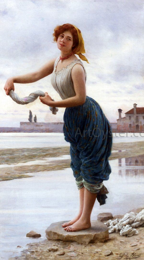 La Lavandiere by Eugene De Blaas – Hand Painted Oil Painting