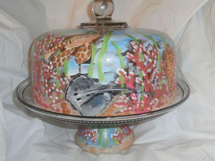 cake plate in under the sea creatures. Seahorses, stingray, turtle and coral. Such a wonderful cake plate for the sea/beach lover. by ArtbySethHouse on Etsy