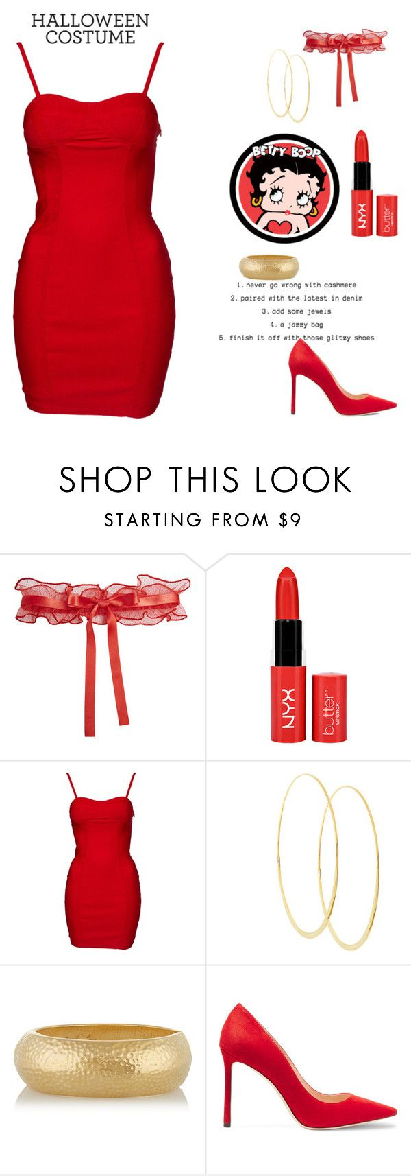 """Halloween Costume idea:Betty Boop"" by gb041112 ❤ liked on Polyvore featuring La Perla, Betty Boop, Lana, Kenneth Jay Lane and Jimmy Choo"