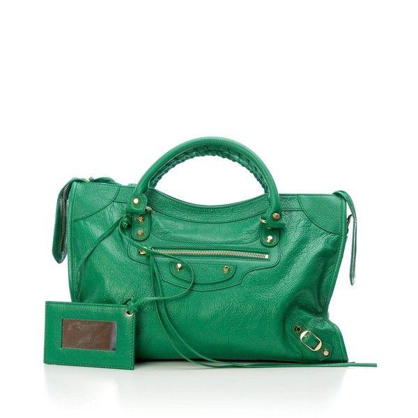 Green Handbag ($1,087) ❤ liked on Polyvore featuring bags, handbags, shoulder bags, green, womenbagstotes, balenciaga purse, metallic shoulder bag, hand bags, balenciaga handbags and handbag purse