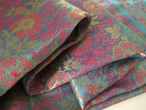 Pink light blue flowers India silk India silk by SilksByUmf