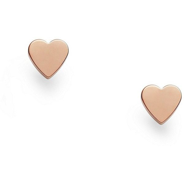 Fossil Rose Gold-Tone Heart Studs ($24) ❤ liked on Polyvore featuring jewelry, earrings, rose gold tone earrings, heart shaped stud earrings, heart shaped jewelry, fossil jewelry and fossil charms