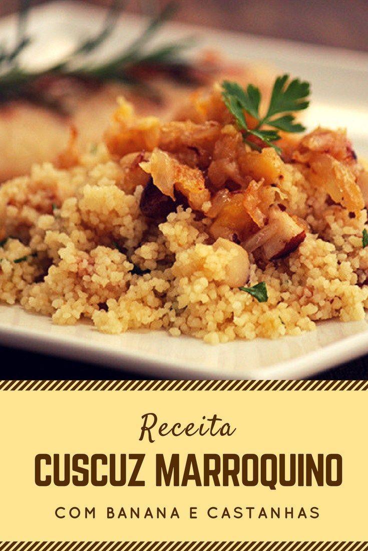 Cuscuz marroquino com banana e castanhas - uma receita deliciosa e leve, ótima para ser servida com peixes e outros pratos. Conddora a receita e prepare em casa.