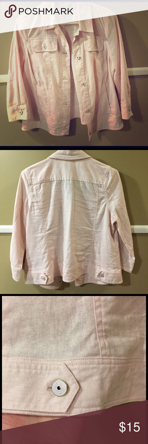 Light pink denim jacket Thin jacket, 3/4 length sleeves. Light pink color with pretty buttons. Two front pockets with buttons along with side pockets Isaac Mizrah Live Jackets & Coats Jean Jackets