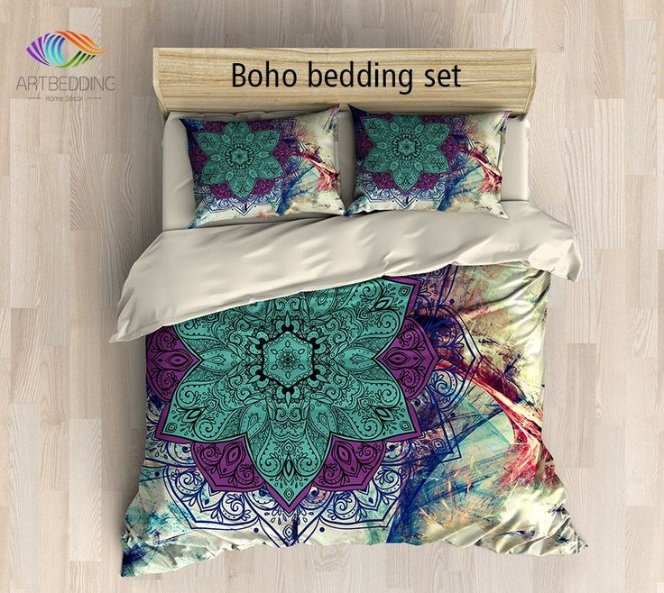 Bohemian bedding, Mandala duvet cover set, Sacred balance lotus mandala bedding, Boho chic bedroom interior