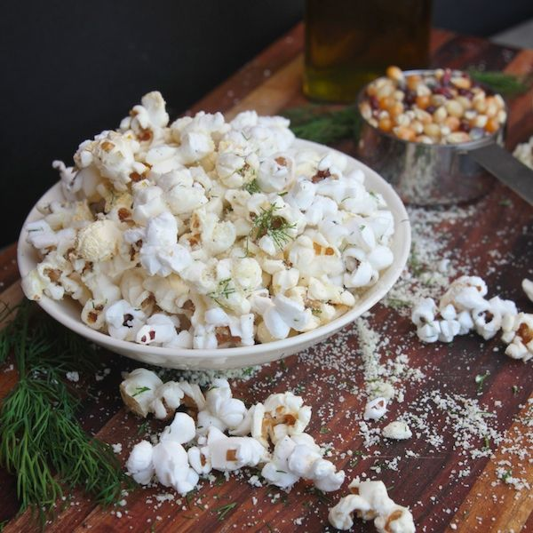 Sour Cream + Onion Popcorn / (in the cookbook she uses 6 cups freshly popped air-popped popcorn, extra virgin olive oil and regular salt- I would probably use butter)