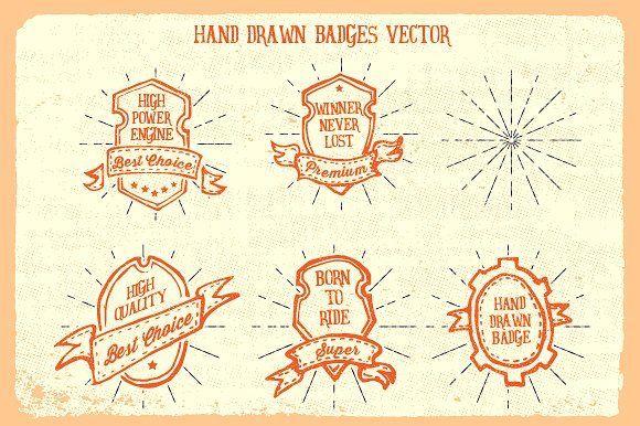 Hand Drawn Badges by ikazNarsis on @creativemarket
