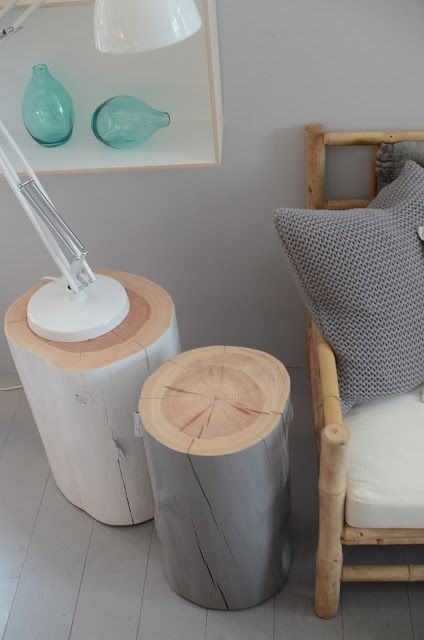 <3 love the idea of using tree trunks like this! Could be used outdoors?