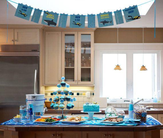 Shark and SCUBA Birthday PRINTABLE Party COLLECTION - CustomizableSharks Weeks, Sharks Parties, Birthday Parties, Sharks Birthday, Parties Ideas, Printables Birthday, Pools Parties, Parties Printables, Birthday Ideas