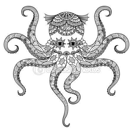 Dibujo Diseo De Zentangle Pulpo Para Colorear Libro Adultos