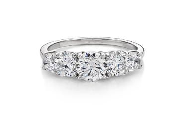 Secrets 10CT White Gold Round Brilliant Cut Five Stone Ring featuring Secrets Signature Diamond Simulants, 2.0ct. Available in White, Yellow and Rose Gold.