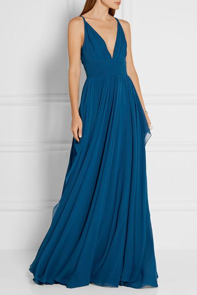 Cobalt silk-chiffon Concealed hook and zip fastening at back 100% silk Dry clean Designer color: Agathe