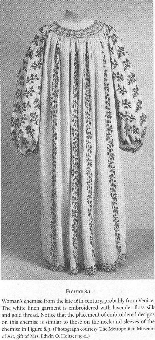 Woman's chemise from the late 16th century, probably from Venice. The white linen garment is embroidered with lavender floss silk and gold thread.