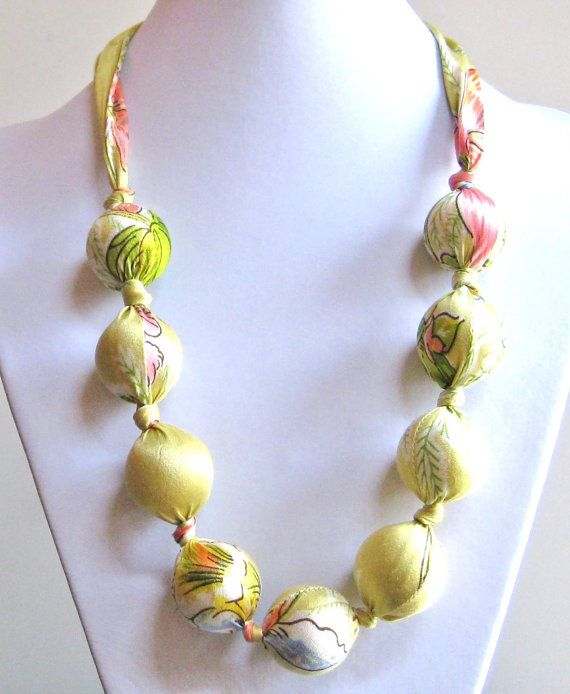 Vintage Scarf  Necklace Upcycled Vintage Scarf by SewItWasByJudy