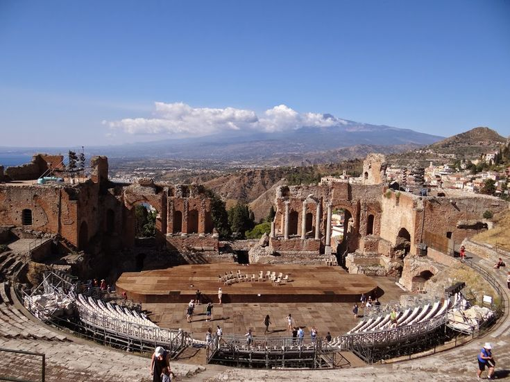 The famous Greek Theater of Taormina with the mighty Etna on background