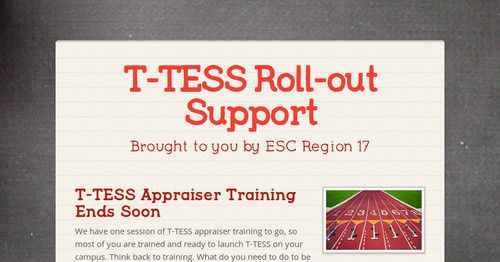 T-TESS Appraiser Training Ends Soon We have one session of T-TESS appraiser training to go, so most of you are trained and ready to...