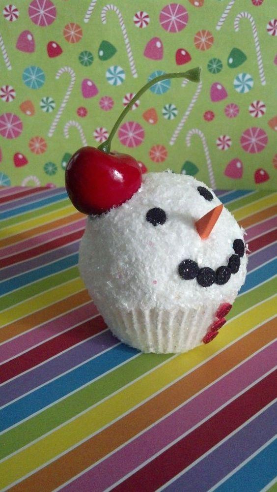 SNOWBALL ICE CREAM MINI FAKE CUPCAKE PHOTO PROP, DISPLAYS, ORNAMENT, GIFT, DECOR #FakeCupcakeCreations