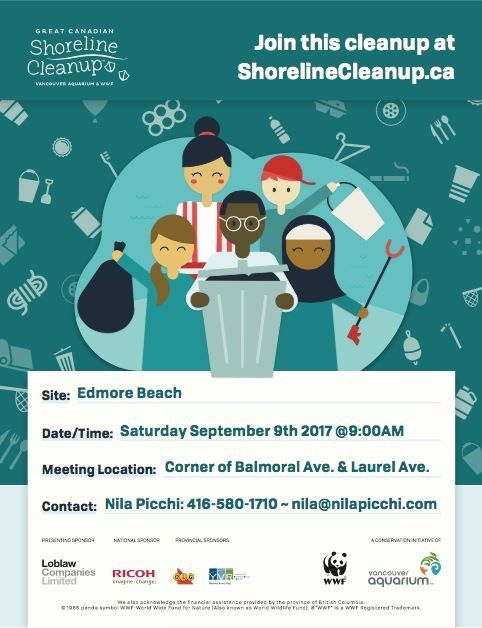 Join Nila Picchi in The Great Canadian Shoreline Clean-up at Edmore Beach on Saturday, September 9th, 2017.   All are welcome!  Clean up starts at 9am at the public beach access on the corner of Balmoral Avenue & Laurel Avenue.  #EdmoreBeach #TinyTownship #RoyalLePageTrinity