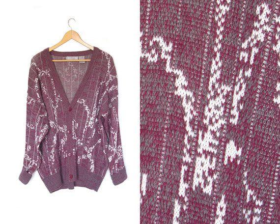 Vintage cardigan sweater. Dark pink  white  by LiveToLiveVintage