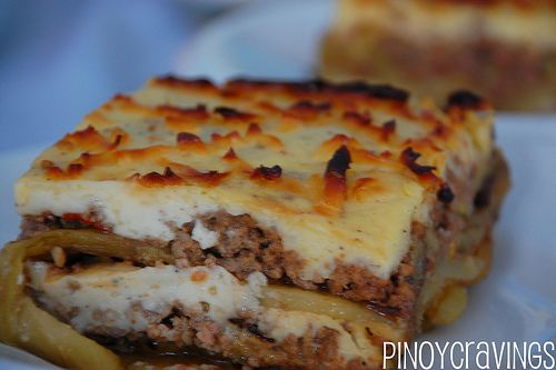 Mousaka.  I had this twice in Europe and have been able to try to recreate it.  It's nice to have found an authentic Greek recipe for it.  If you like lasagna, this is a greek version with eggplant and potato in stead of pasta.  Awesome.