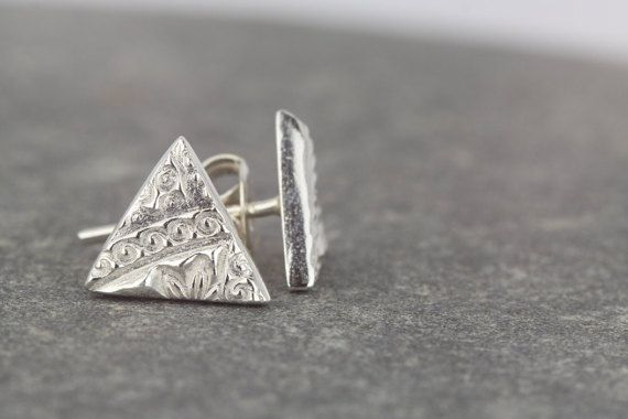Triangle studs ~ handmade earrings ~ simple studs ~ bridesmaid gift ~ girlfriend present ~ textured pattern