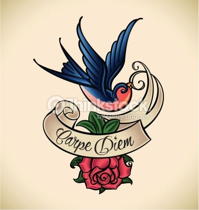 Clipart vectoriel : Swallow and rose, old-school tattoo