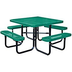 46″ Square Thermoplastic-Coated Metal SuperSaver Commercial Picnic Table – Portable/Surface-Mount – Green
