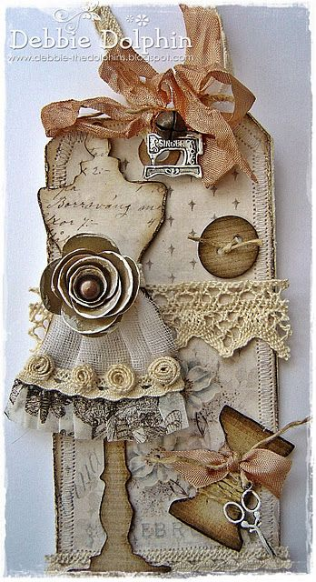Such a gorgeously pale/vintage hued, wonderfully embellished sewing themed tag. #sewing #crafts #tag #scrapbooking #shabby #chic