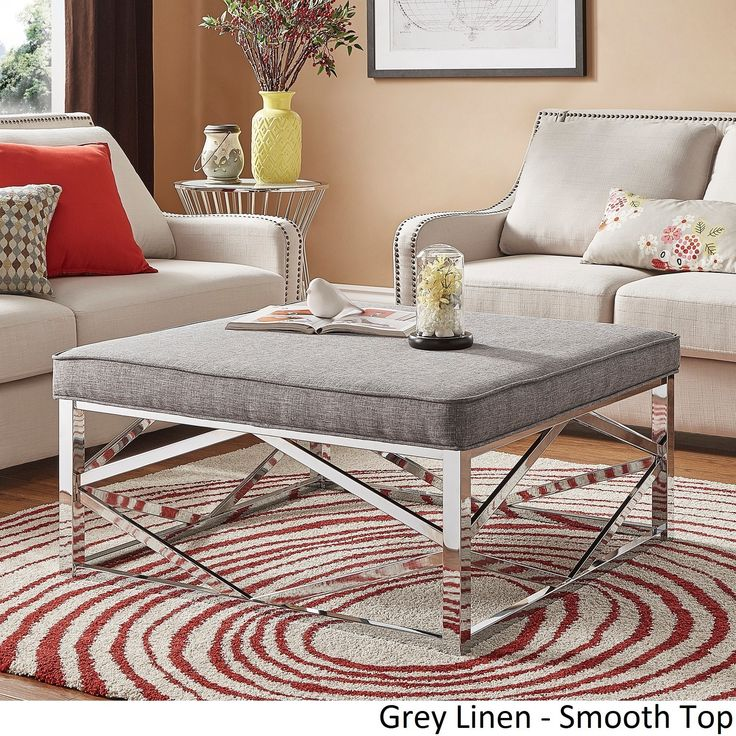 foot rests for living room%0A Solene Geometric Base Square Ottoman Coffee Table  Chrome by iNSPIRE Q  Bold   Grey