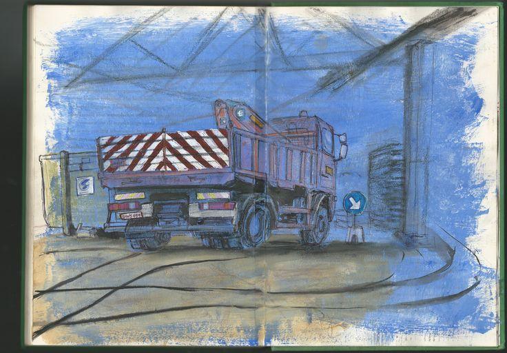 #SCHETSEN: Camion van 't STAD! loods draakplaats © Laura Engels