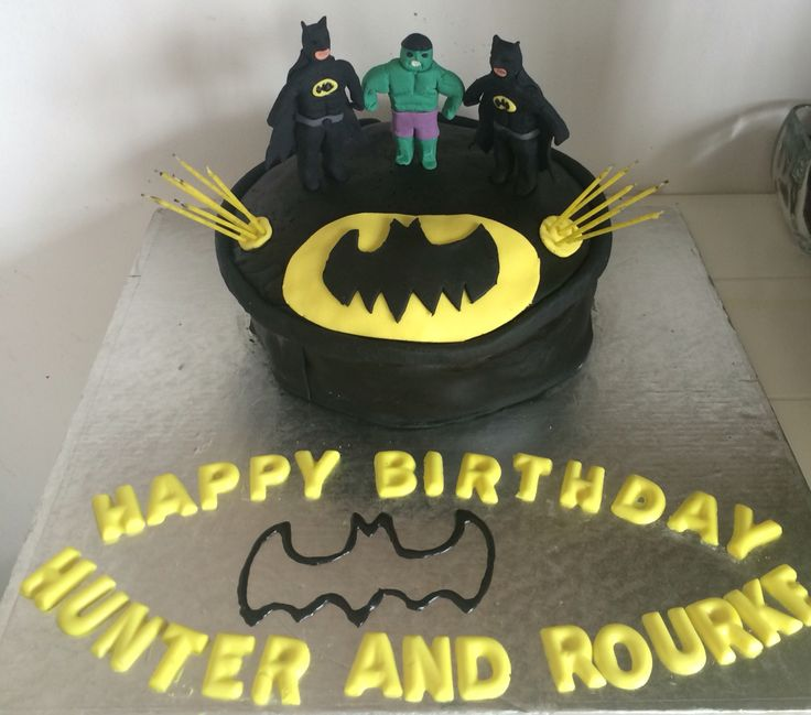 Bat Man and Hulk cake