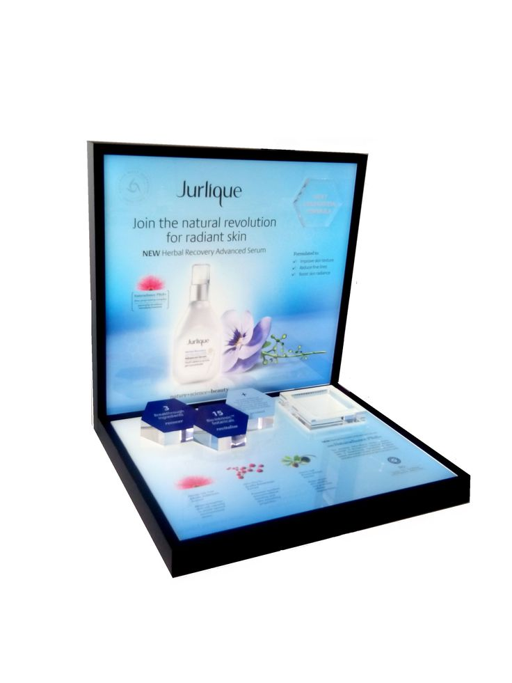 Jurlique Luxury Organic Natural Cosmetics Essential Oil Skincare Glorifier Counter Display Flower Graphics Collection Perfect Wood finishing Backlit Led Lighting Display POS POP Yamei Group