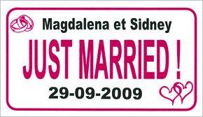 """Pour une décoration unique, personnalisez votre plaque d'immatriculation """"Just Married"""" en indiquant vos prénoms et la date de votre mariage !!! http://www.mariage.fr/plaque-voiture-mariage-personnalisee-prenoms.html"""