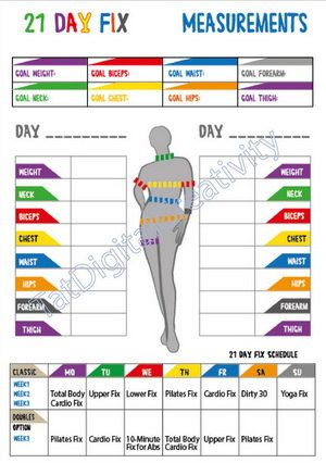 21 Day Fix Tracker 21 Day Fix Calorie by TatDigitalCreativity