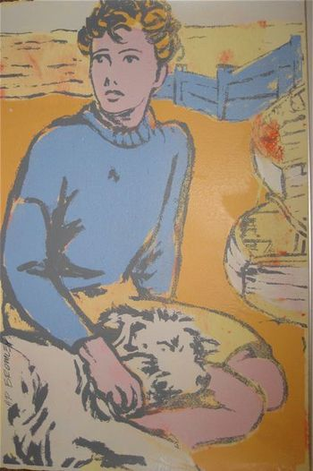 """""""Boy With Dog"""" by David Bromley. Screenprint. 56 x 38 cm. Available for purchase, check it out at www.smythgalleries.co.nz"""