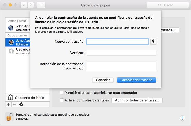 Cambiar o restablecer la contraseña de una cuenta de usuario de OS X. Puedes cambiar la contraseña que utilizas para iniciar sesión en el Mac o bien restablecerla en caso de que la hayas olvidado.