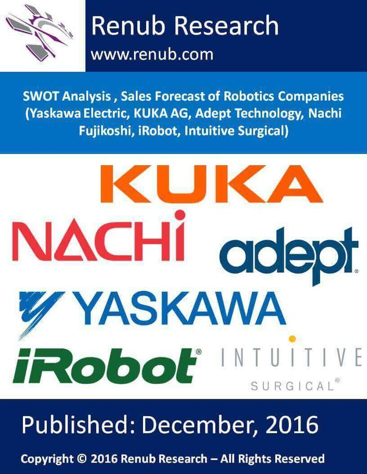 "Renub Research report titled ""SWOT Analysis, Sales Forecast of Robotics Companies (Yaskawa Electric, KUKA AG, Adept Technology, Nachi Fujikoshi, iRobot, Intuitive Surgical)"" provides a comprehensive assessment of the fast–evolving global robotic company sales analysis. This 31 page report with 12 Figures and 2 Table study the top six global robotics companies SWOT & their respective sales analysis."