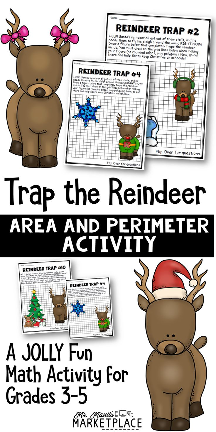 Help Santa gather his reindeer for the long journey, then find the area and perimeter of the fence used to trap them! Perfect for grades 3-5!  By Mr. Mault's Marketplace