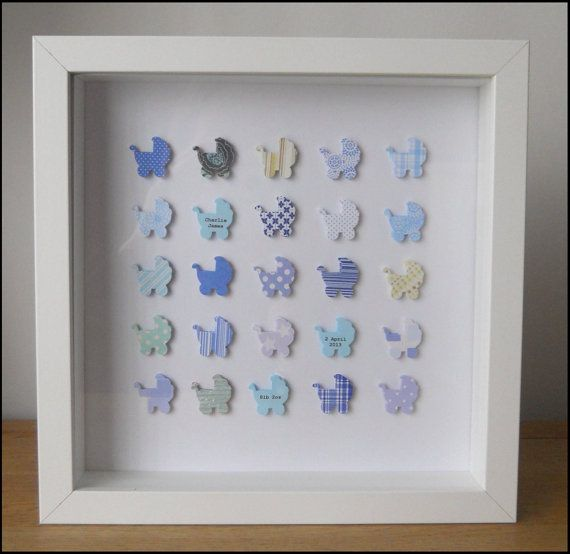 Personalised New Baby Boy Box Frame Picture Keepsake - Blue Prams